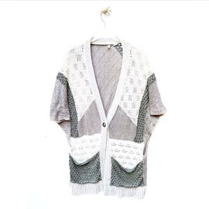 moth / patchwork long duster cardigan knit sweater